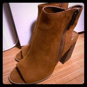 Tan suede wedge heel